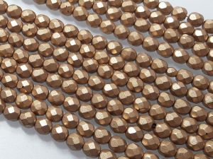 Czech glass 6mm matte gold faseted (65pcs)
