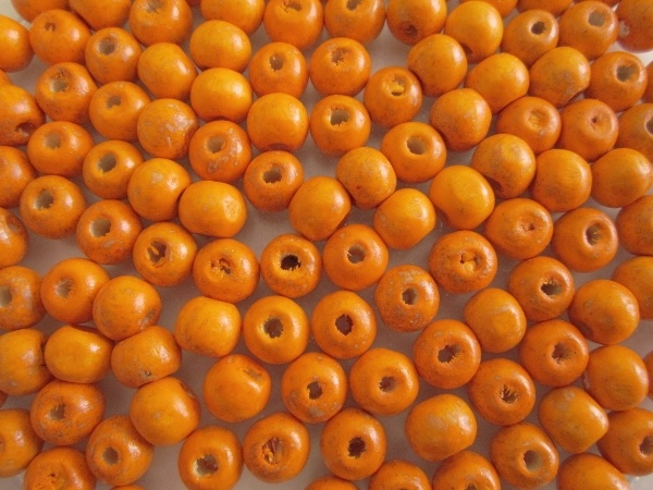 Wood bead orange (7x8mm)