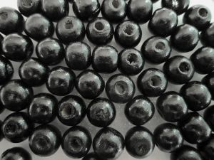 wood bead black (9x10mm)