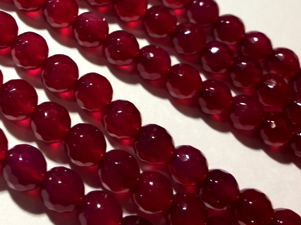 Agate faceted dyed ruby 6mm ( 65pcs)