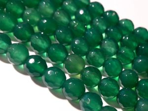 Agate faceted dyed green 6mm (68pcs)
