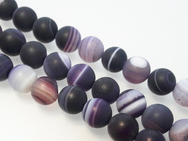 Agate matte dark lilac 8mm ( 47pcs)