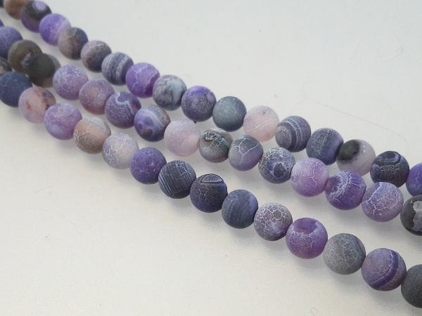 Agate matte light lilac 6mm (62pcs)