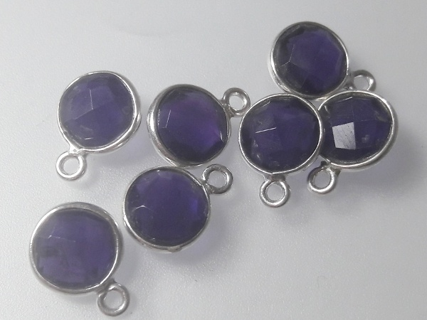 Amethyst pendant sterling silver edge 9x12mm (1pc)