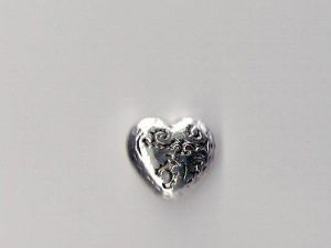 Copper coated bead heart CCB4014