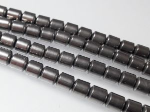 Hematite barrel 6mm steel (66 pcs)