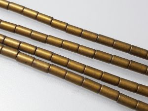 Hematite 3x5mm tube matte brass (79 pcs)