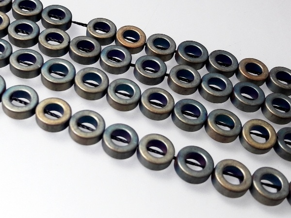 Hematite 8,2mm donut matte greenish brass (49 pcs)