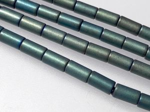 Hematite 3x5mm tube matte bluish green (79 pcs)