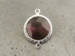 Framed crystal round plum