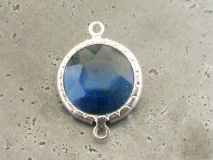 Framed crystal round blue