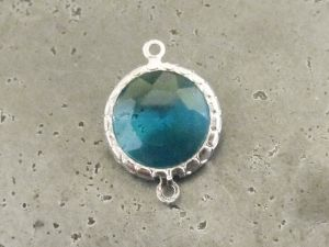 Framed crystal round turquoise