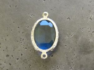Framed crystal oval blue