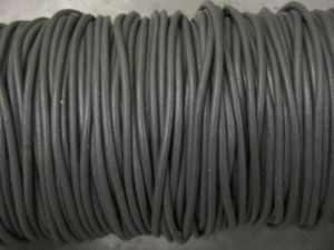 Leather cord 2mm round grey