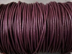 Leather cord 2mm round plum