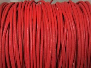 Leather cord 2mm round red