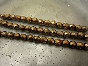 Czech faceted glass bead copper (7x8mm)