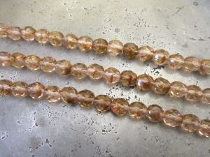 Czech faceted glass bead dark peach (7x8mm)