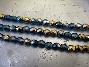 Czech faceted glass bead petrol-copper (7x8mm)