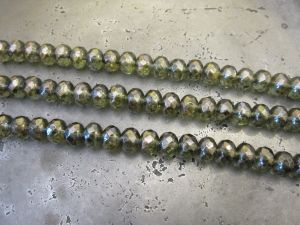 Czech faceted glass bead rondelle smokey-green