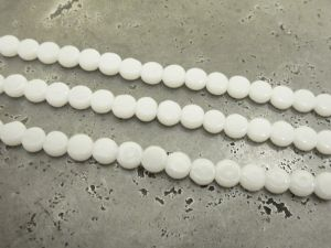 Glass bead small flat coin white