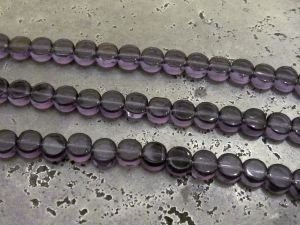 Glass bead small flat coin lilac