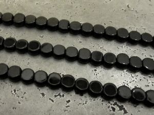 Glass bead small flat coin black