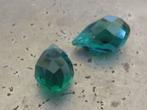 Crystal briolette blue-green