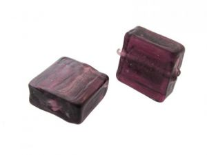 Silver foil bead dark  plum 12x12 mm (4pcs)