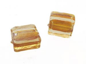 Silver foil bead gold 12x12 mm (4pcs)