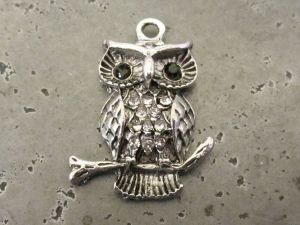 Pendant small owl with rhinestones