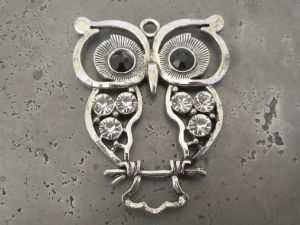 Pendant big owl with rhinestones