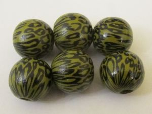 Wood bead leopard olive (6pcs)