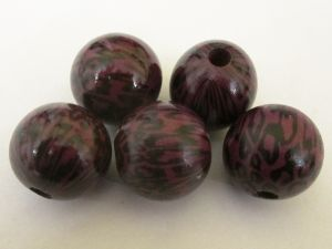 Wood bead leopard plum (5pcs)