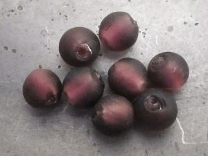 Frosted foil bead 10mm plum