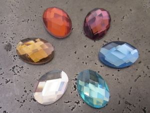 Cabochon faseted oval (6pcs)