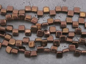 Czech glass bead rectangle 2-hole dark bronze (20pcs)