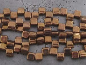 Czech glass bead rectangle 2-hole copper (20pcs)