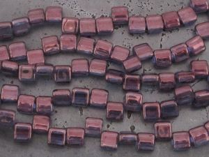 Czech glass bead rectangle 2-hole bordeaux (20pcs)
