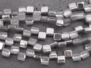 Czech glass bead rectangle 2-hole silver (20pcs)