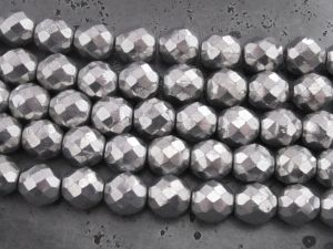 Czech faceted glass 10mm silver (12pcs)