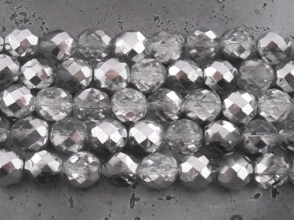 Czech faceted glass 10mm clear/silver (12pcs)