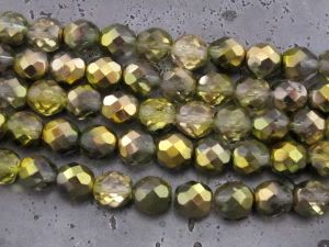 Czech faceted glass 8mm olive AB (15pcs)