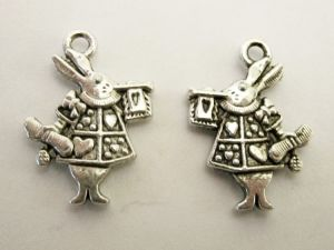 Pendant white rabbit Alice in wonderland (6pcs)