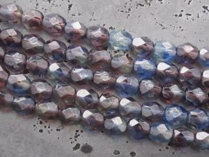 Czech faceted glass 6mm light blue/ lilac (20pcs)