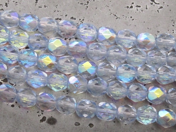 Czech faceted glass 6mm light blue AB (20kpl)