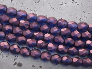 Czech faceted glass 6mm metallic lilac (20pcs)