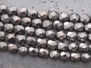 Czech faceted glass 6mm graphite (20pcs)