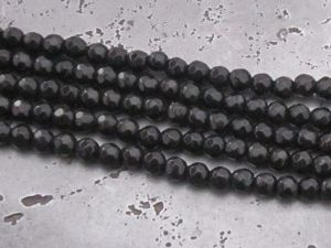 Glass bead faseted black (80pcs)