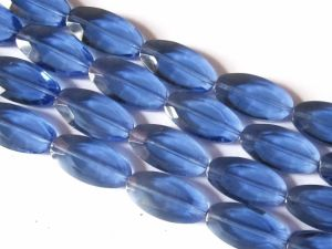 Crystal glass bead flat oval blue JGB0058